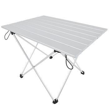 Trwały przenośny stół ze stopu aluminium stół ze składaną tacką piknik na świeżym powietrzu stół stołowy stół piknikowy stół składany tanie i dobre opinie TOPINCN Metal Neoklasycystyczny Montaż Prostokąt Na zewnątrz tabeli Meble ogrodowe Outdoor Foldable Table Nowoczesne