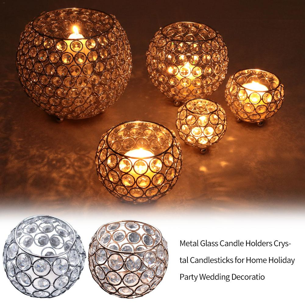 5PCS 3 In Crystal Bowl Tealight Candlestick Holder Wedding Home Decor Silver