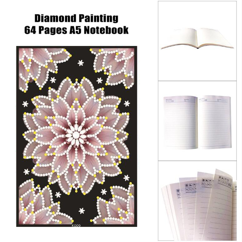 64 páginas DIY con forma especial de diamante pintura cuaderno flor diario libro dibujo bordado diamante punto de cruz artesanía regalo