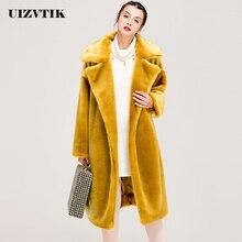 Зимнее женское пальто из искусственного меха повседневное роскошное толстое теплое длинное Свободное пальто Большие меховые куртки Женская плюшевая одежда с хлопковой подкладкой