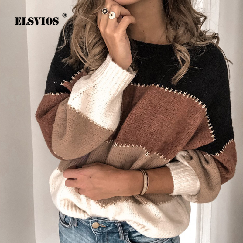 ELSVIOS 3XL Autumn Winter Warm Knitted Sweater 2019 Women O Neck Patchwork Sexy Tops Jumper Casual Long Sleeve Sweaters Pullover