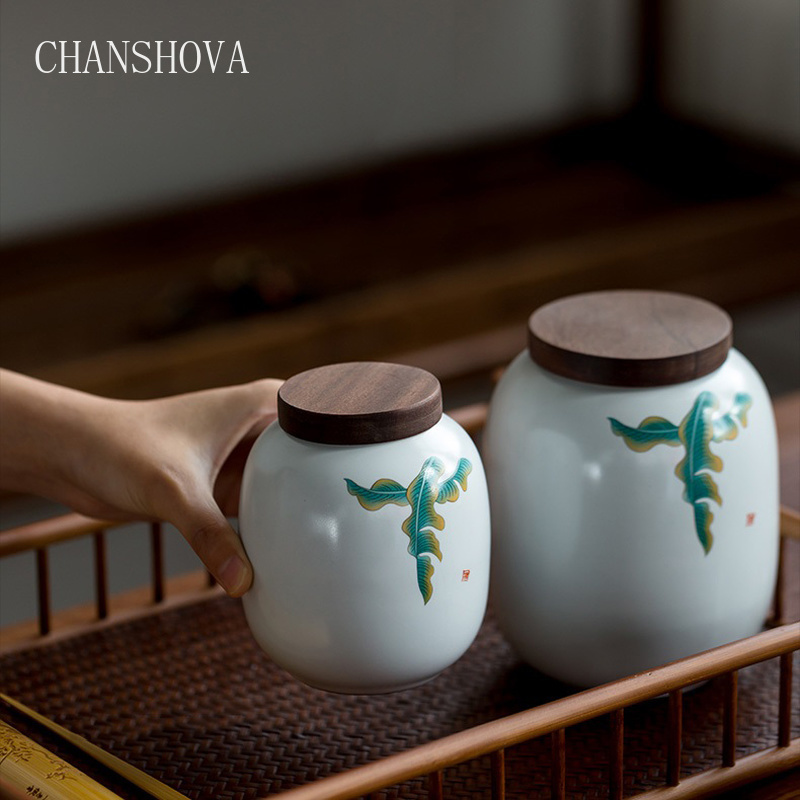 CHANSHOVA Chinese traditional hand painted large capacity large and small ceramic tea box Chinese crackle porcelain tea set H311|Tea Caddies| - AliExpress