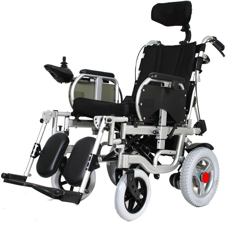180° Adjustable Lie Down Elderly Electric Wheelchair Disabled Four Wheel Electric Vehicle Elderly Portable Folding Wheelchair 1