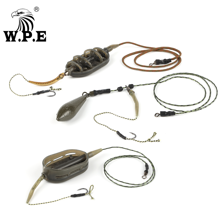 W.P.E 1 Set Carp Fishing Rig Hair 30g/40g/50g/60g/70g Europe CarpFish Hook Rig Set Lead Core Line Fishing Group With Teflon Hook