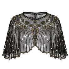 Shawl Flapper Sequins Beaded Cover-Up Glitter Dance-Bolero Evening-Cape Sheer Striped