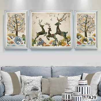 Modern Abstract Oil Painting Print on Canvas 3pcs Animal Deer and Tree Landscape Canvas Printing Wall Art Picture for Home Decor