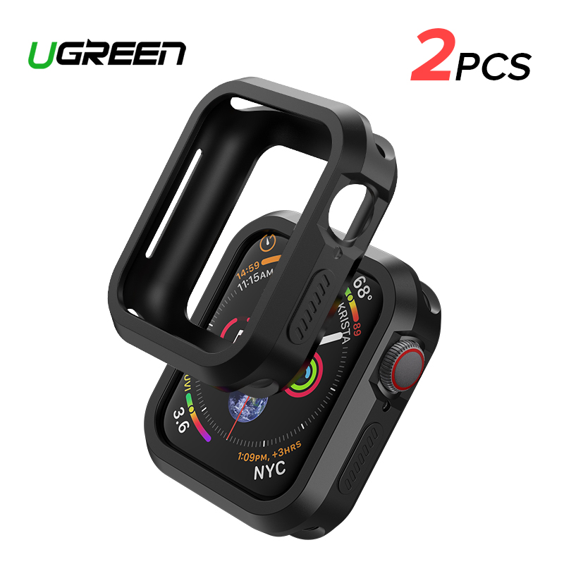 Ugreen 2PCS Case For Apple Watch Protector Case Series 4 44mm Screen Protector Cover Black & Clear For Apple Watch 4 Protector