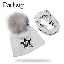 Baby Cap Cotton Faux Fur Pompom Hat For A Boy Winter Scarf Set Printing Girls Bonnet