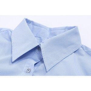 Image 3 - [Eam] Vrouwen Gestreepte Gesplitst Groot Formaat Asymmetrische Blouse Nieuwe Revers Lange Mouwen Loose Fit Shirt Mode Lente Herfst 2020 JZ687