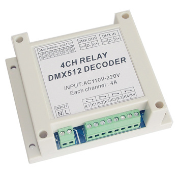 цена на Wholesale 4CH controller Decoder AC110-220V DMX RELAY 4 channel dmx512 3P relays dimmer use for RGB led strip lights led lamps