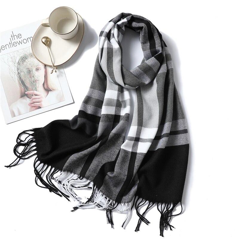 2019 NEW women   scarf   fashion plaid cashmere   scarves   for lady winter shawls with tassel long size   wraps   pashmina bandana foulard