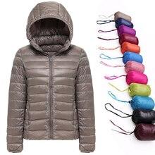 Chaqueta de plumón de pato blanco para mujer, abrigo cálido para otoño e invierno, chaqueta de plumón de pato ultraligera para mujer, Parka resistente al viento 2019