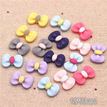 50PCS Mix Colors Cute Resin Small Bow Flat back Cabochon DIY Jewelry/Craft Scrapbook Decoration,12*18mm(China)