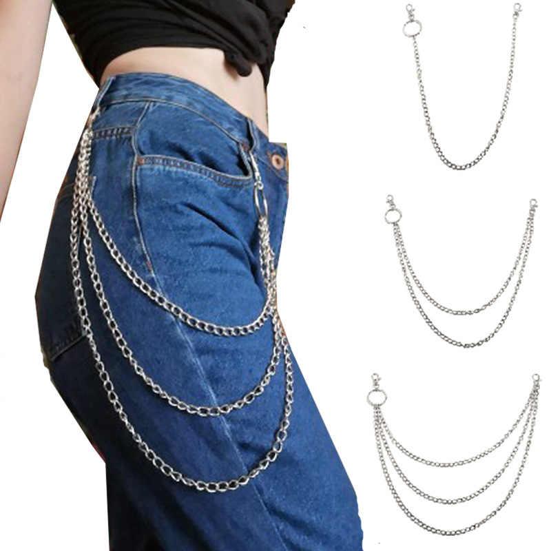 เข็มขัดผู้หญิง Punk กางเกงเข็มขัด Hip Hop หญิงพู่กางเกง Silver โซ่ทองสำหรับกางเกงผู้หญิง Cool โซ่โลหะบนกางเกงยีนส์