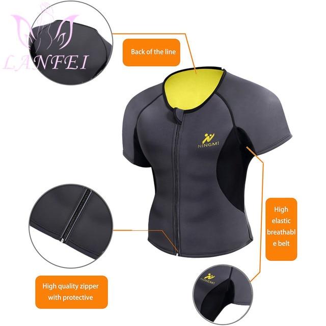 LANFEI Men Waist Trainer Body Shaper Shirt Zipper Weight Loss Hot Sweat Neoprene Sauna Slimming Shapewear Sport Gym Belt Vest 4