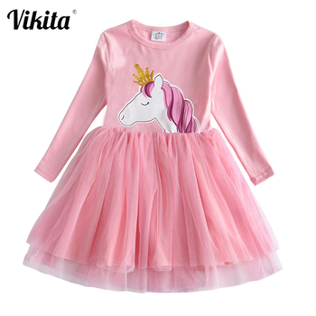 VIKITA Girls Unicorn Vestidos Girls Long Sleeve Dress Kids Party Voile Dress Children Licorne Autumn and Winter Dresses LH4577 vikita girls unicorn dress princess tutu dress for girls children birthday party licorne vestidos kids autumn winter dresses