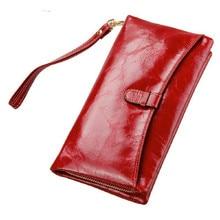 Genuine Leather Womens Wallet Oil Wax Leather Clutch Bag Women Long Wallets Ladies Coin Purse Wallet Female Carteira Feminina