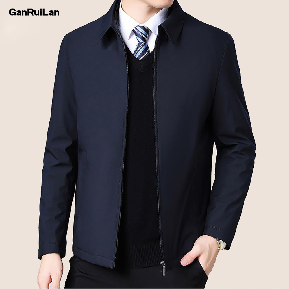 2020 New Mens Jackets Turn Down Collar Men Autumn Winter Jacket Zipper Side Pocket Men's Clothing Long Sleeve Coat Men B0749