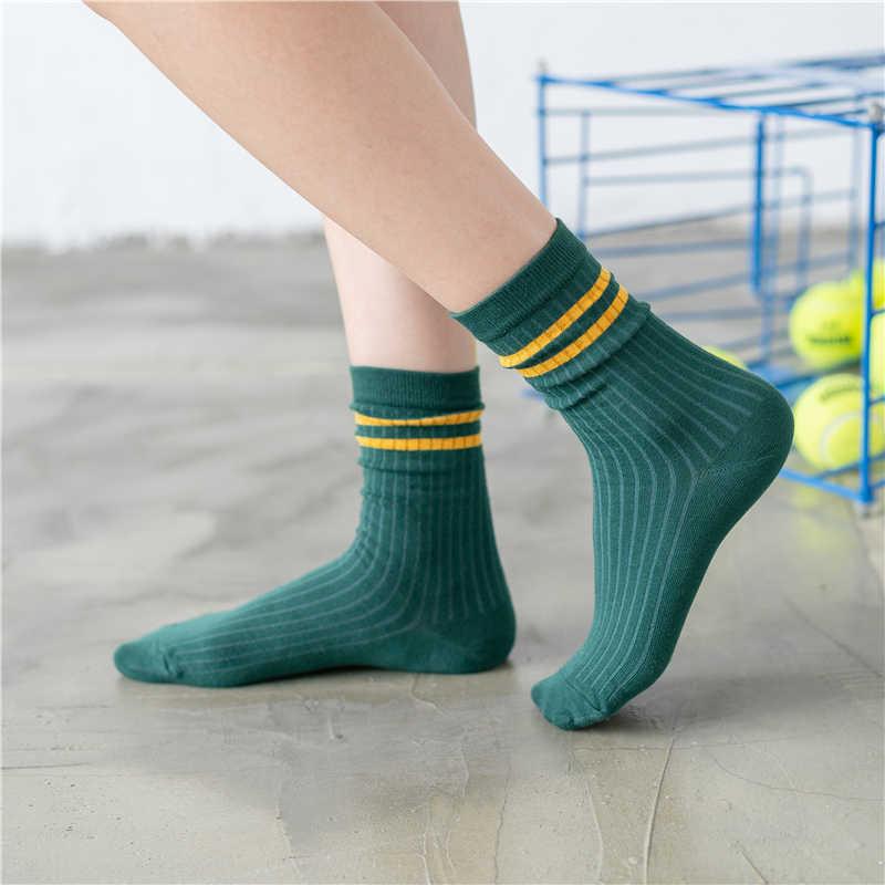 Nowe damskie paski podkolanówki jednokolorowe z dwoma paskami załoga ułożone luźne usta młoda moda campus art funny gift sock dropship