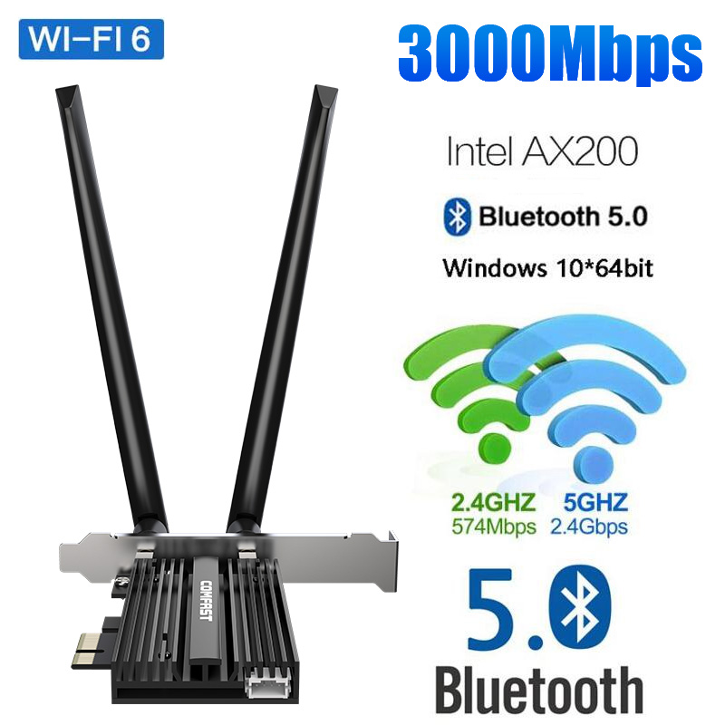 Dual Band 3000Mbps Wireless PCI-E Wifi Adapter For Desktop PC Intel Wi-Fi 6 AX200 Bluetooth 5.0 802.11ax/ac 2.4G/5G Win10 Card(China)