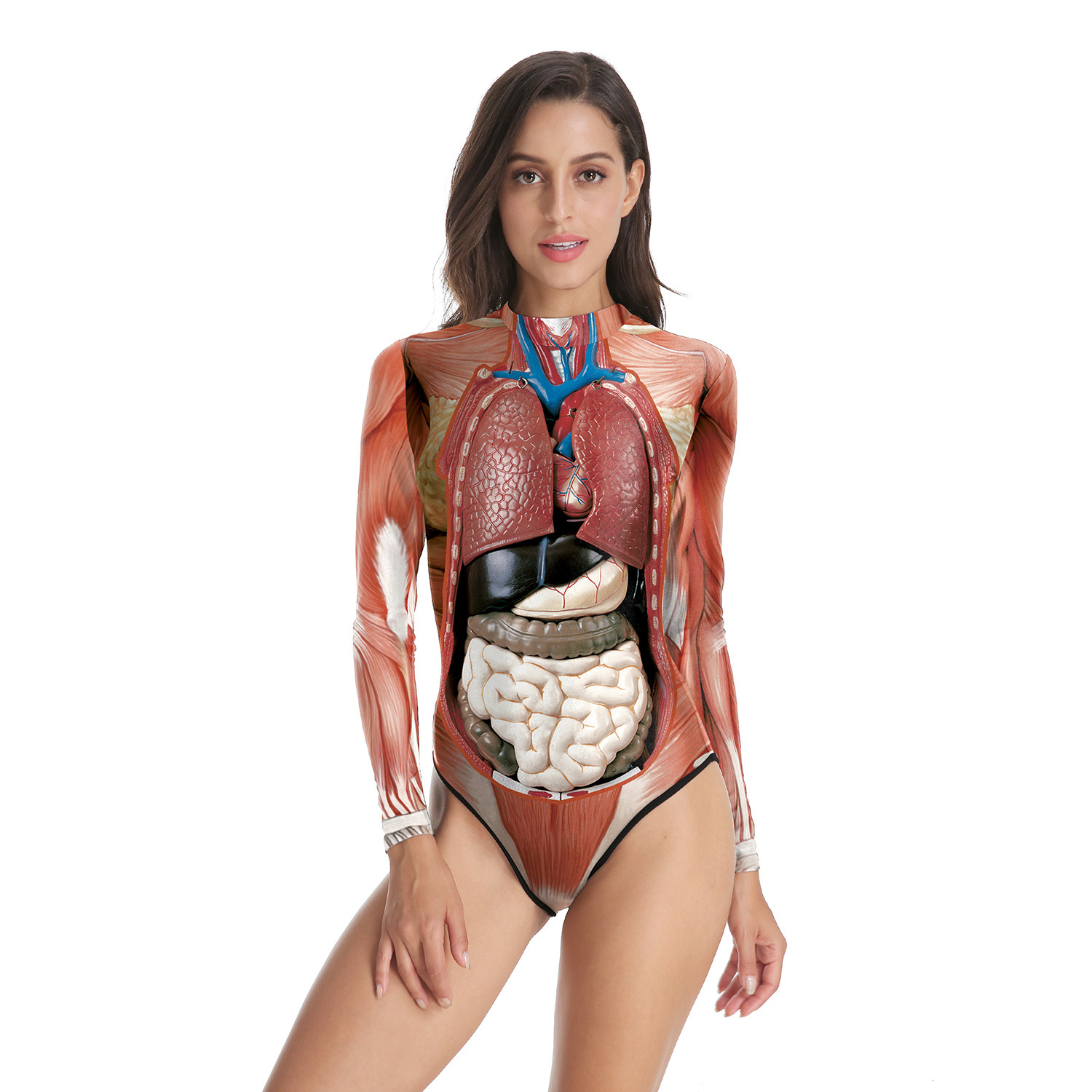 Womens Long Sleeve Zip Printed Jumpsuits Science Medical Teaching Human Muscle Anatomy Anatomical Cosplay Costume Bodysuits