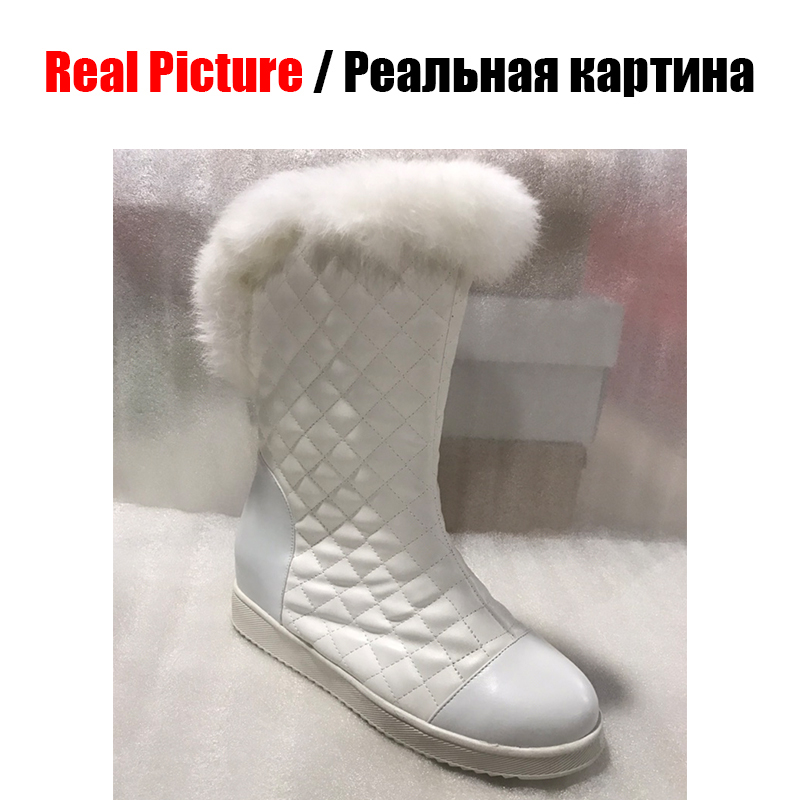 DoraTasia New Popular Women Snow Boots Faux Fur Increased Heels Warm Fur Inside Solid Winter Boots Female Shoes Woman 31-41 46