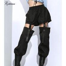 Rockmore Harajuku Hollow Out Patchwork Women Pants Gothic High Waist Detachable