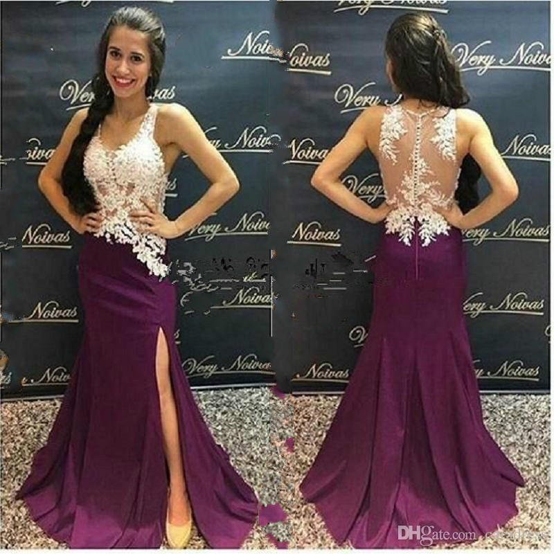 Purple Mermaid Lace Evening Dress Plus Size V Neck Sheer Back Side Slits Arabic Evening Dresses 2019 Women Formal Party Gown