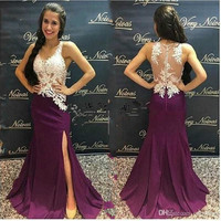 Purple Mermaid Lace Evening Dress Plus Size V Neck Sheer Back Side Slits Arabic Evening Dresses 2019 Women Formal Party Gown