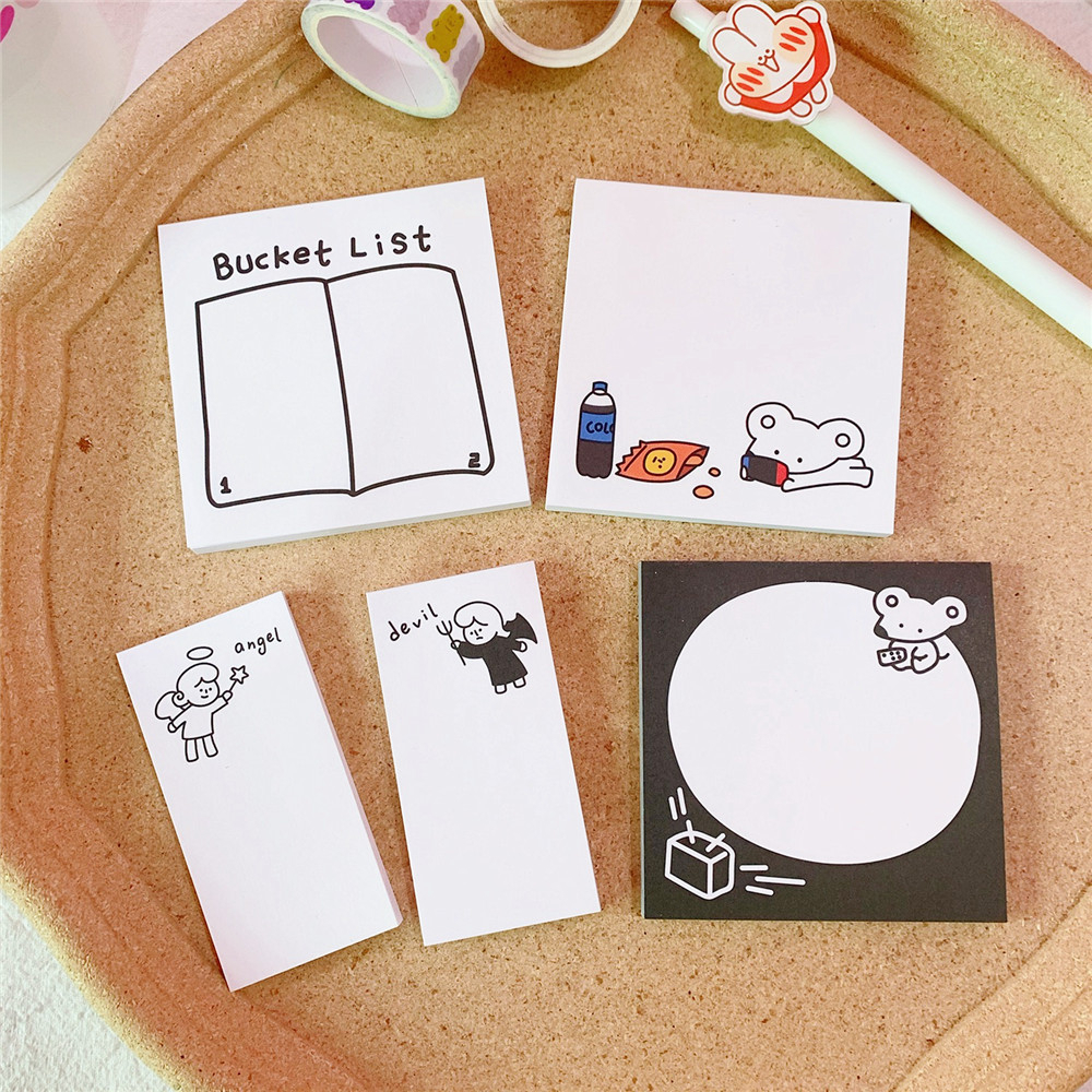 SIXONE 50 Sheets Cartoon Cute Rat Memo Pad Simple Style Notebook Kawaii Planner Stickers Diy Portable Notes School Stationery