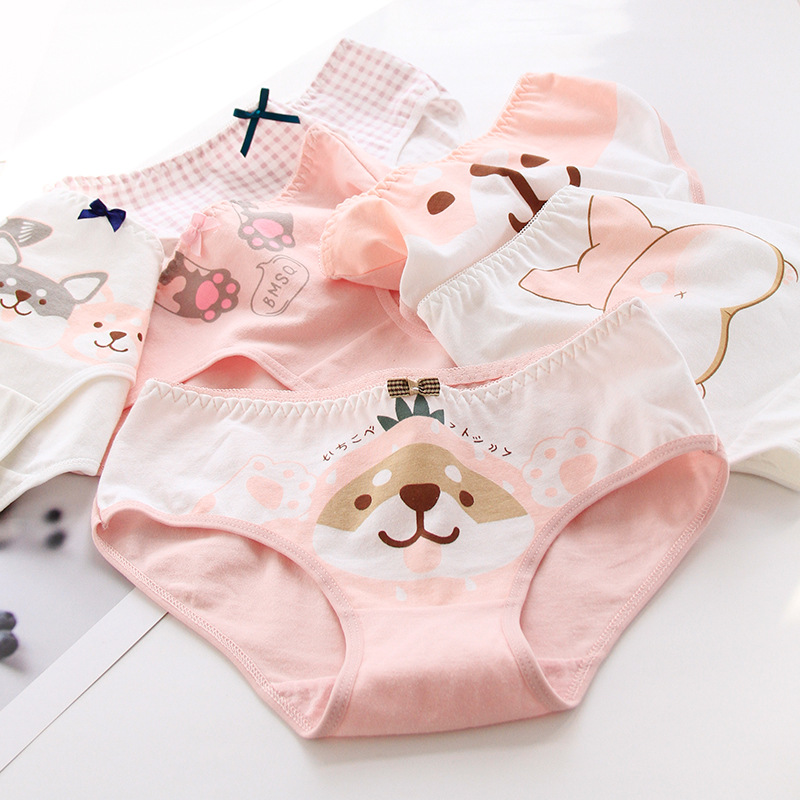 Kids Cartoon Dog Print Underwear Cute Girls Cotton Panties Kids Soft Breathable Underpants Teenage Briefs Culotte Fille