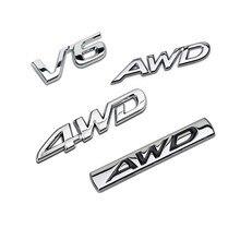 V6 4wd awd emblema emblema 3d chrome metal adesivo tronco do corpo carro decoração acessórios para toyota honda mazda nissan jeep