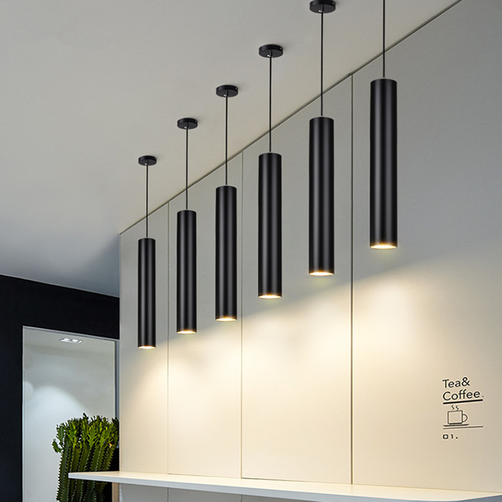 Led Hanging Lamp Long Tube Lamp Kitchen Island Dining Room Shop Bar Decoration Cylinder Pipe Black Pendant Light Kitchen Lamp