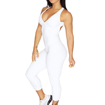 Women Textured Bodysuit Sexy Backless Jumpsuit Pants Abdomen Hip Lift Yoga Tight Sweat-absorbent Breathable Sport Leggings
