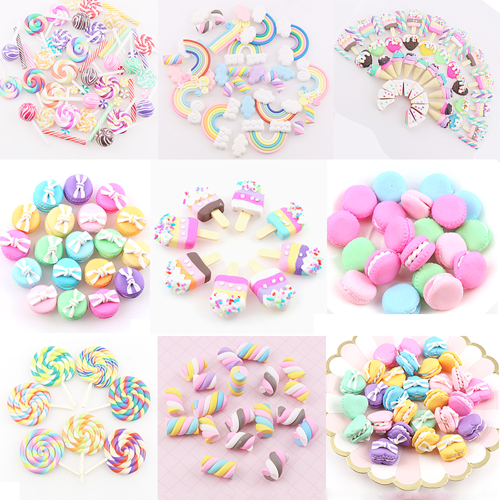 1-20Pcs 18 Styles Mixed Colors Polymer Clay Heart Rainbow Icecream Embellishments For Scrapbooking