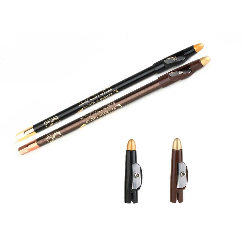 1 قطعة مقاوم للماء الحاجب العين بطانة طويلة التميز الحاجب العين قلم تحديد البني أو الأسود مع غطاء مبراة أدوات التجميل ماكياج