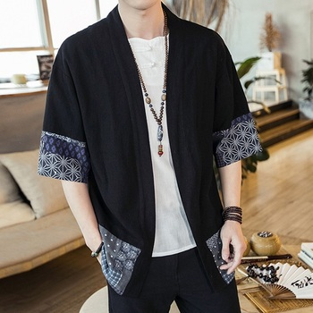 Japanese Kimono Men Cardigan Streetwear Yukata Male Shirt Haori Mens Kimono Shirt Traditional Japanese Samurai Clothing 4XL 5XL aikido gi uniform cotton hapkido pants kendo hakama black japanese samurai traditional mens women kids keikogi adult