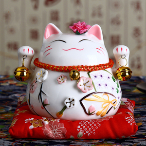 4.5 inch Japanese Ceramic Lucky Cat Maneki Neko Home Decoration Ornaments Business Gifts Fortune Cat Money Box Feng Shui Craft(China)