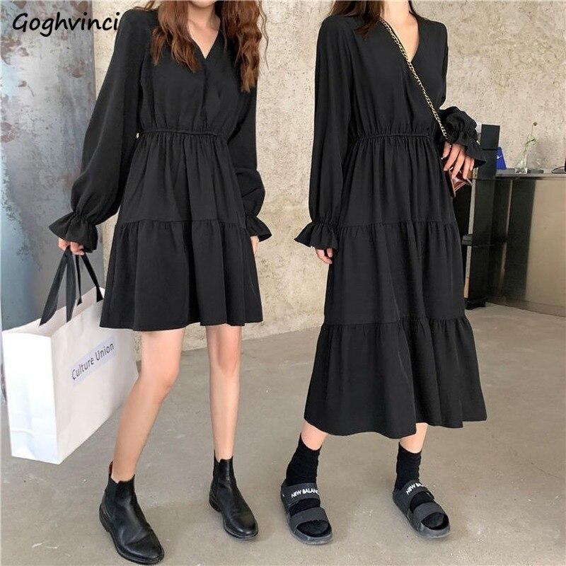 Uzun kollu siyah elbise kadın pileli v yaka Casual Midi elbiseler zarif bayan kore tarzı Streetwear Vintage Retro vestidos