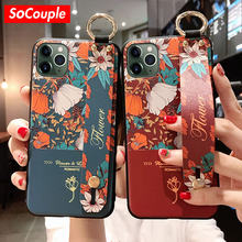 SoCouple Wrist Strap Case For iphone 7 8 6 6s plus 11 Pro Max Case For iphone XR X Xs max Flower Soft TPU Phone Holder Case(China)
