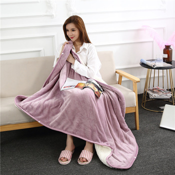 Flannel Blanket Hoodie Travel Totoro Blanket Soft Fuzzy Fluffy Blankets Sweatshirt Solid Winter Warm Fleece TV Blankets for Beds 2