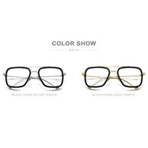 Image 5 - FONEX czysty tytan octan mężczyźni Retro Tony Stark okulary rama krótkowzroczność optyczne Edith okulary korekcyjne dla kobiet 8512