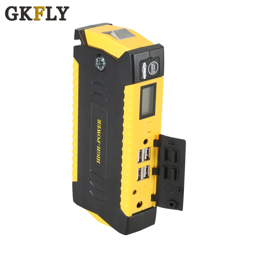 GKFLY New Capacity 16000mAh Tarter Cables 600A Jumper Cables 12V Car Jump Starter Power Bank Car Battery Booster Starting Device