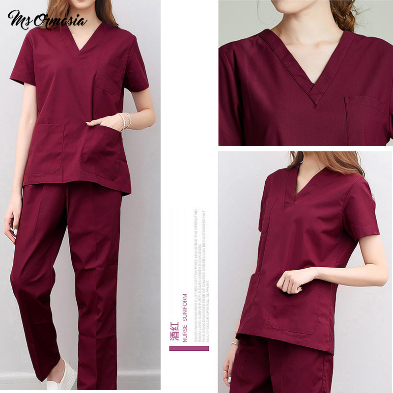 Hospital Nurse Scrub Tops Women Scrub Clothes Breathable Cartoon Printing Surgical Medical Uniforms Wholesale Surgery Tops Only