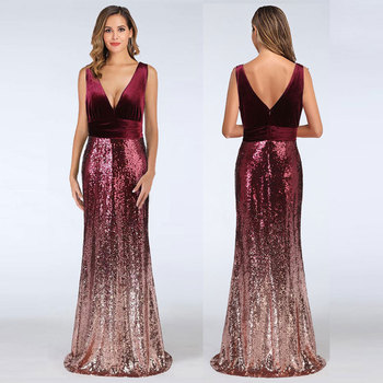 2019 Strapless V Neck Gradient Mermaid Evening Dresses Sequins Backless Formal Prom Gowns