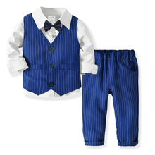 Gentleman child boy suit long sleeve shirt + vest + tie + pants 4Pcs formal stri