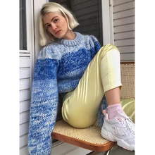 цена на SE Autumn Winter Fashion High Quality Luxury Runway Gradient Blue Gray Striped Sweater Short Knit Mohair Ladies Sweater 2019SS