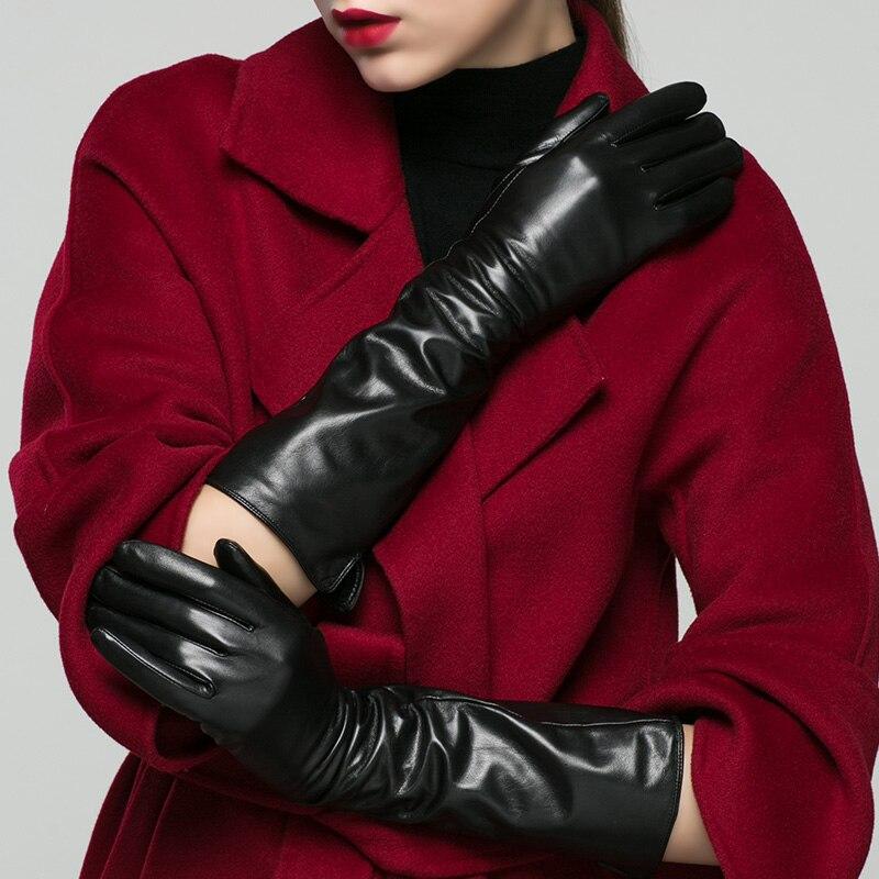 Real Leather Gloves Female Autumn Winter Plus Velvet Thicken 40cm Long High Quality Goatskin Woman's Gloves X210