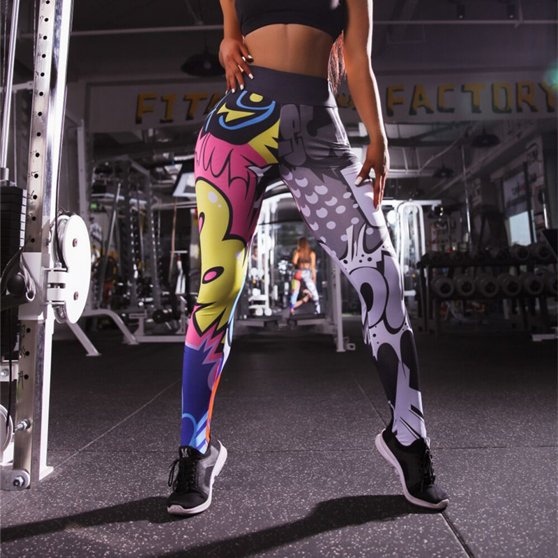 <font><b>3D</b></font> <font><b>Cartoon</b></font> Print High Waist Leggins Sport Women Fitness <font><b>Sexy</b></font> Slimming Sport Leggings Yoga Pants Ropa Deportiva Mujer Gym image