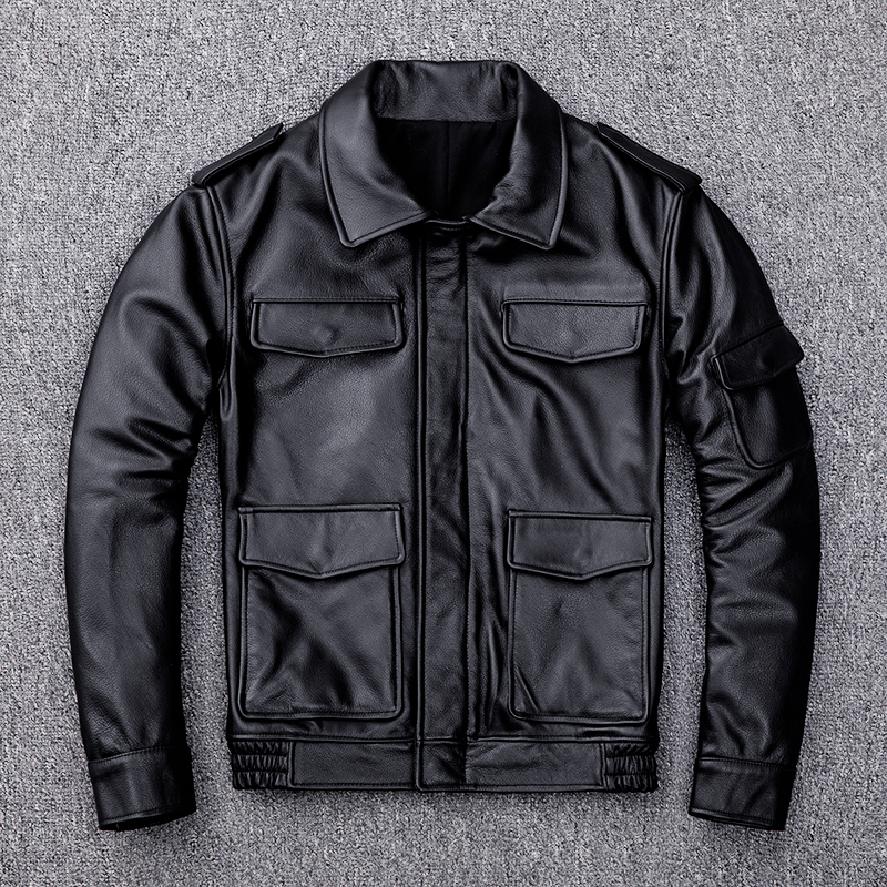 Free Shipping,99.99!2019 Sales Casual Leather Jacket.Middle-aged Man Genuine Leather Coat.winter Quality Cowhide Jackets.